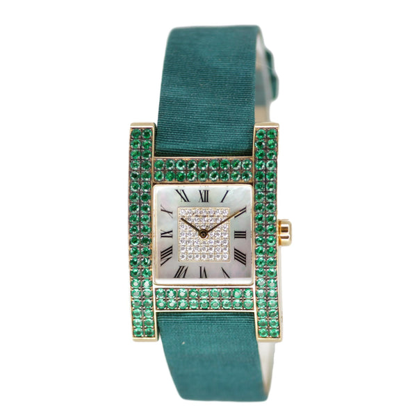 Chopard Your Hour Ladies Emerald Watch Green Silk Over Lamb Band