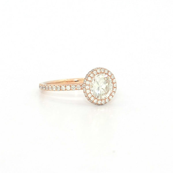 1.70 Carat Diamond Engagement Ring 18 Karat Rose Gold