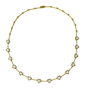 Queen Of Hearts Collar - 18k Yellow Gold 14 Diamond Hearts Necklace