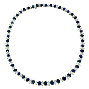 Platinum Blue Sapphire Diamond Necklace
