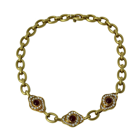 Van Cleef and Arpels - Opulent Flower - 18k Yellow Gold Ruby and Diamond Collar Necklace