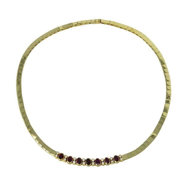 Ruby Wonder Collar - 18k Yellow Gold Diamond and Ruby Collar Necklace