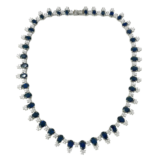 Sapphire Seduction - 18k White Gold Sapphire and Diamond Riviera Necklace