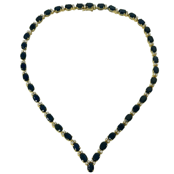 "Sweetheart Necklace - 14k Yellow Gold Diamond and Blue Sapphire ""V"" Necklace September Birthstone"