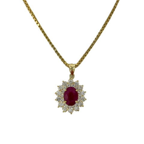 Ruby Sun Goddess - 14k Yellow Gold Ruby and Diamond Pendant Necklace