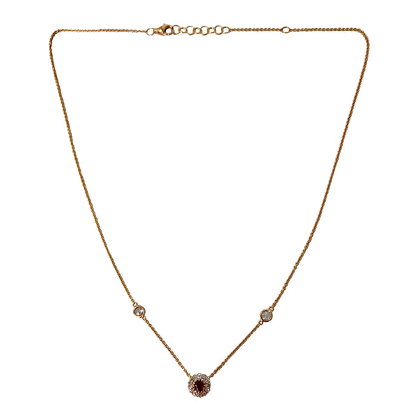 Inspiring Love and Light - 18k Rose Gold Diamond and Ruby Pendant Necklace