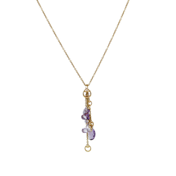 GUCCI 18k Yellow Gold Amethyst Horsebit Long Tassel Necklace