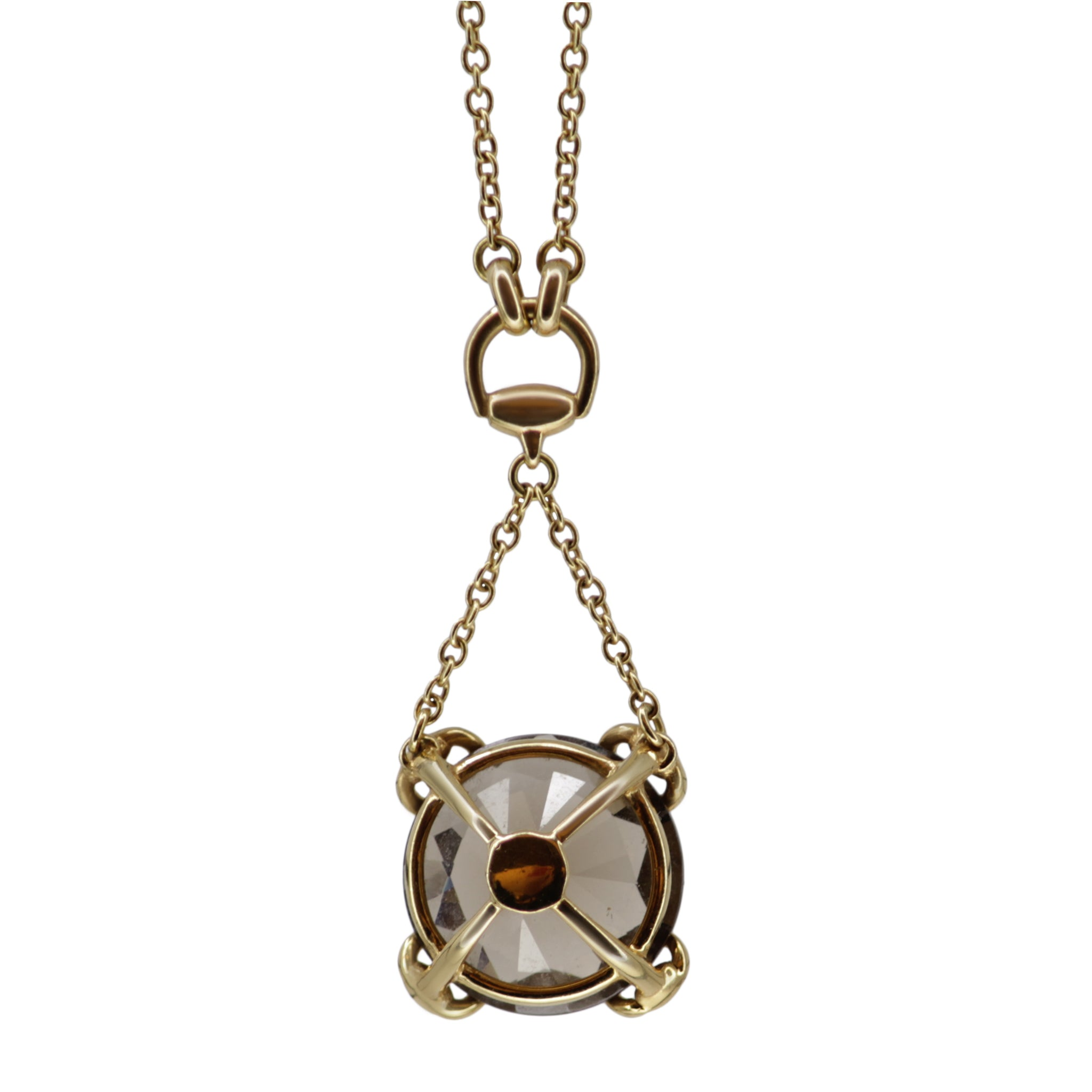 Gucci Topaz Horsebit Necklace - 18k Yellow Gold Necklace with Brown Topaz Gemstone