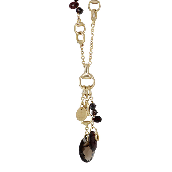 18k Yellow Gold Gucci Garnet and Brown Quartz Long Chain Horsebit Necklace