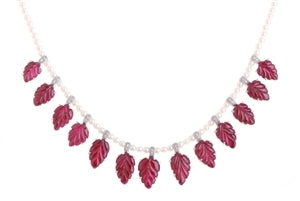 PLATINUM RUBY, PEARLS & DIAMOND CHOKER