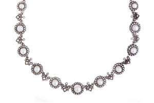 ANTIQUED SILVER PEARL & DIAMOND NECKLACE