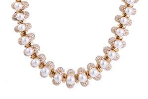 18K BULGARI PEARL & DIAMOND NECKLACE