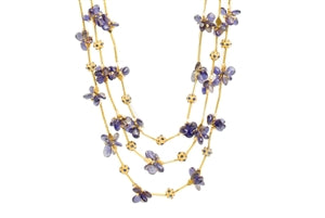 18K LOLITE BRIOLETTE MULTI STRAND BEADS NECKLACE