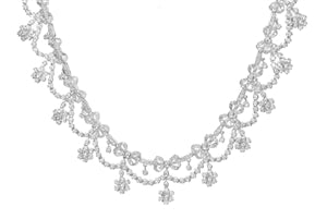 Garnished In Diamonds  - 18K White Gold Diamond Floral Garland Necklace