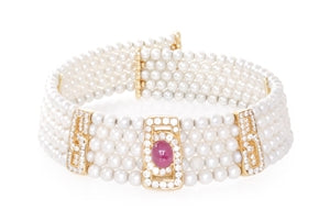 18K AKOYA PEARL DIAMOND & RUBY COLLAR NECKLACE