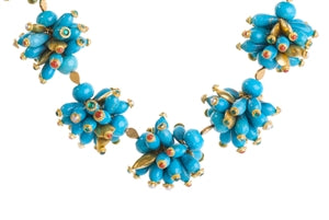 22K GOLD TURQUOISE BEAD NECKLACE