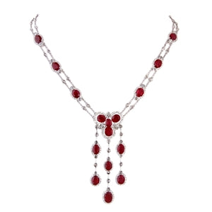 RUBY & DIAMOND DROP NECKLACE