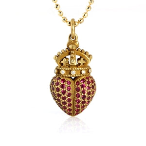 BARRY KIESELSTEIN 18K RUBY & DIAMOND HEART CROWN PENDANT NECKLACE