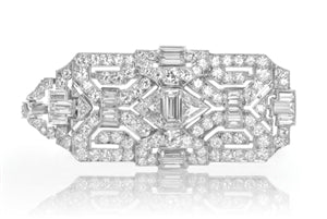 Iconic Style Pin - VINTAGE PLATINUM RECTANGULAR DIAMOND BROOCH
