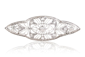 ANTIQUE PLATINUM DIAMOND FILIGREE BROOCH