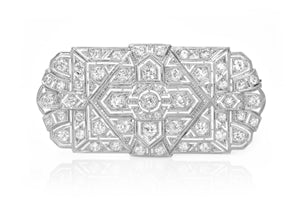 VINTAGE PLATINUM RECTANGULAR DIAMOND BROOCH