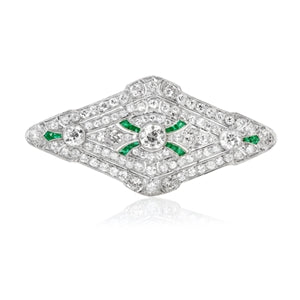ART DECO PLATINUM NAVETTE DIAMOND & EMERALD BROOCH