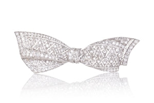 RETRO PLATINUM DIAMOND BOW PIN