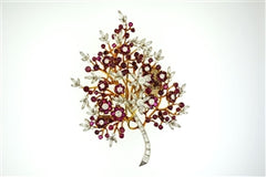 DIAMOND & RUBY FLOWER PIN