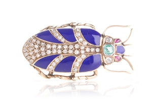 ANTIQUE ENAMEL SAPPHIRE EMERALD AND DIAMOND BEETLE BROOCH