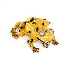 YELLOW ENAMEL FROG PIN