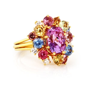 14K MULTI COLORED SAPPHIRE AND DIAMOND RING