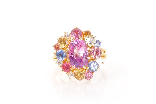 A BOUQUET OF COLOR RING- 18K YELLOW GOLD MULTI COLORED SAPPHIRE PINK, BLUE AND YELLOW WITH DIAMONDS FLOWER COCKTAIL  RING