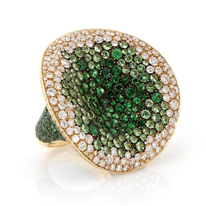 18K DIAMOND & TSAVORITE GARNET COCKTAIL RING