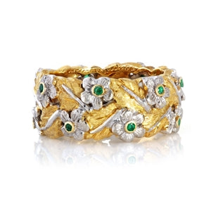 BUCCELLATI 18K GOLD EMERALD FLOWERS BAND