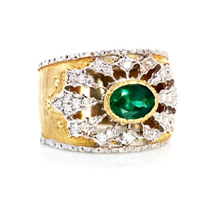 BUCCELLATI 18K EMERALD & DIAMOND RING