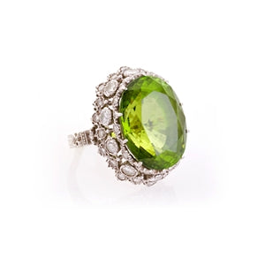 BUCCELLATI 18K PERIDOT & DIAMOND RING