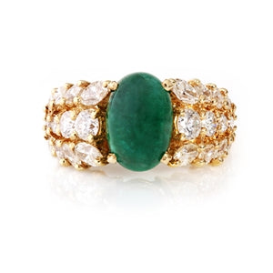 Cabochon Emerald and Grecian Leaf Diamond Ring