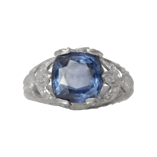 Elsa's Blue Ice Ring - Platinum Vintage Style Blue Sapphire and Diamond Ornate Ring