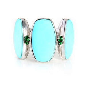 DE GRISOGONO 18K Turquoise & Emerald Ring