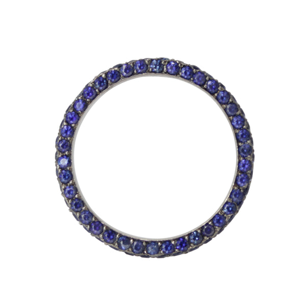 Surrender To The Sapphire Band - 14k Black Gold Pave Sapphire Eternity Ring 6.25