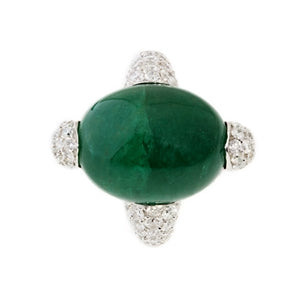VENUSES RING - CABOCHON CUT EMERALD & DIAMOND SOLITAIRE RING