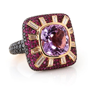 Seductive Rose Veil Ring - 14k Yellow Gold Pink Sapphire Ring