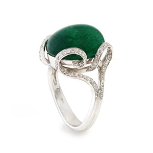 CABOCHON CUT EMERALD & DIAMOND RING