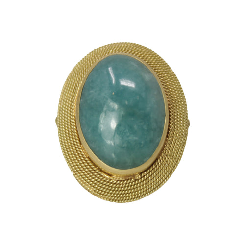 Healing Amulet Ring -18K Yellow Gold Cabochon Amazonite Bezel Set Shield 70's Style Ring