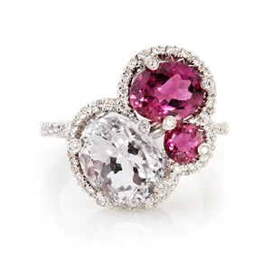 18K KUNZITE, RUBELLITE & DIAMOND HALO CLUSTER RING