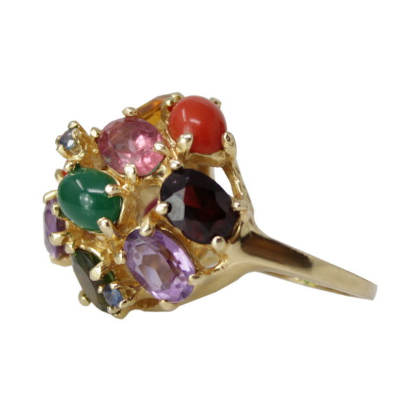 Multi Gem Bouquet Ring - 14K Yellow Gold Multicolor Gemstone Ladies Ring