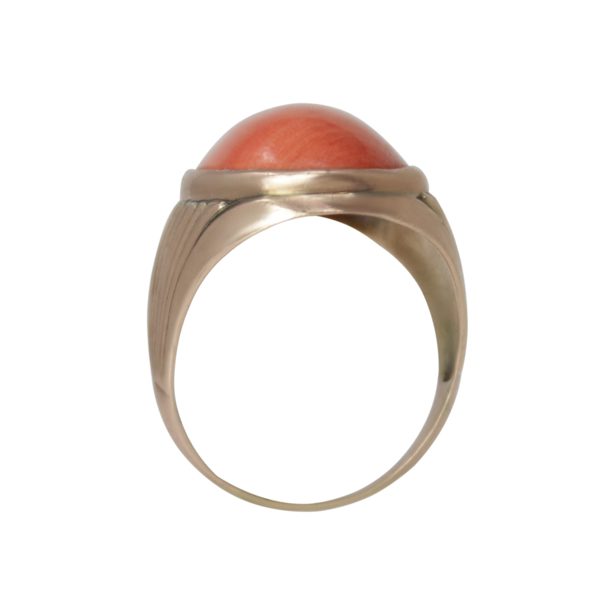 Coral Vitality Ring - 14k Yellow Gold Orange Coral Men's Unisex Ring