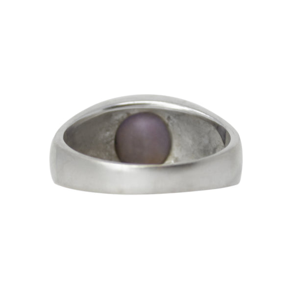 Blue Moon Solitaire - 14K White Gold Purple Blue Cabochon Sapphire Men's Unisex Ring