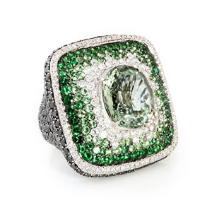 SALAVETTI QUARTZ, EMERALD & DIAMOND RING