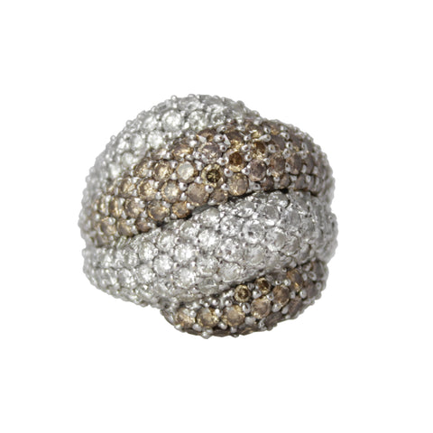 Toyingly Twisted Band -18k White Gold White and Champagne Diamond Large Chunky Ring